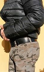 mil12 (armybelt007) Tags: leatherbelt wideleatherbelt armybelt militarybelt crotch bulge malebutt beltfetish beltandjeans officerbelt policebelt camopants camouflage camobomberjacket