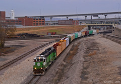 "Southbound Local in Kansas City, MO (""Righteous"" Grant G.) Tags: bnsf burlington northern railroad railway locomotive train trains south southbound local freight manifest kansas city missouri emd power bn"