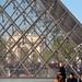 Arc de Triomphe du Carrousel door de Pyramide gezien