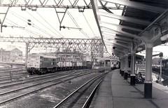 Class 31 31103 (N nine) Tags: blackandwhite station diesel platform tracks engine railway signals cables locomotive 1979 stratford gantry class31