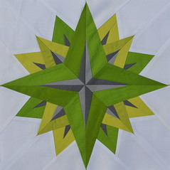 Block for Joanna (jenjohnston) Tags: green grey star compass quiltblock paperpieced quiltingbee