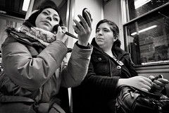 Subway Makeover.. (Peter Levi) Tags: street city blackandwhite bw blancoynegro subway women sweden stockholm tube streetphotography makeup