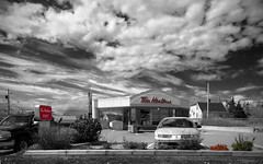 Couleur Locale 13 - Canada isn't Canada without Tim Horton's - or big skies (Marc Geuzinge Photography) Tags: red sky bw canada color green coffee clouds canon photography nikon novascotia canadian powershot marc timhortons vastness selective easternpassage s100 marcgeuzinge marcgeuzingephotography