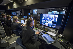 Staff working in the control room during a session