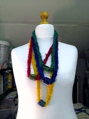 hand knitted silk with glass beads - all recycled materials (MadeleineS) Tags: studio pepper plum knitted necklaces