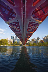 Peace Bridge - Day (Will Christensen) Tags: bridge red canada calgary water skyline river alberta bow calatrava peacebridge willchristensen