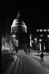 A Walk To St Pauls' (R Watabe) Tags: life road street city uk bridge people blackandwhite bw london silhouette architecture modern night stairs buildings evening europe shot dynamic britain steps stpauls millenium architectural foster figure milleniumbridge wren renaissance interaction fosterchristopher normanfosternorman