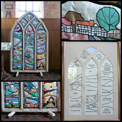 Stained Glass embroidery 2 (pefkosmad - back from hols & trying to catch up!) Tags: houses art church window nature glass collage countryside town embroidery interior sewing crafts stained views frame quilting herefordshire amateur handicrafts applique leominster leominsterpriory ipiccy
