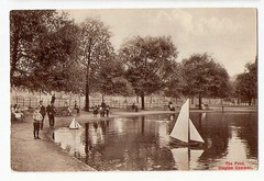 1910 MODEL YACHT ON POND CLAPTON COMMON LONDON (oldsailro) Tags: park old boy sea summer people sun lake playing london beach water pool girl sunshine youth sailboat race vintage children fun toy boat miniature wooden pond model waves sailing ship child time yacht antique group boom regatta mast 1910 hull spectators common watercraft clapton on adolescence keel fashioned