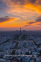 Parisian Sunset (Edward Tian) Tags: city sunset paris france vertical architecture nikon cityscape citylife nopeople eiffel highrise getty capitalcities uniquearchitecture highangleview