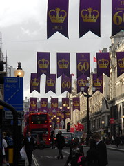 Celebrating queens 60 years coronation banners purple gold Regent Street London England 15th June 2013 republic 15-06-2013 17-36-17 (dennoir) Tags: