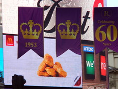 Celebrating queens 60 years coronation banners purple gold Regent Street London England 15th June 2013 republic 15-06-2013 17-32-20 (dennoir) Tags: