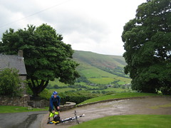 Tom refuelling for the climb past Partrishow Church (neil.finnes) Tags: dorset rough brecon beacons riders