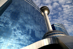 WTP (durgeshnandini) Tags: blue india white reflection clouds different angle jaipur wtp durgeshnandini worldtradepark