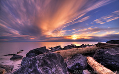 Sentry (savillent) Tags: ocean sunset sea summer sky sun seascape canada beach water clouds landscape nikon rocks northwest north shoreline logs august arctic erosion shore beaufort climate territories sentry tuktoyaktuk 2013 savillent