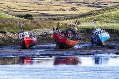 Desperately waiting for the tide to turn! (Frank Fullard) Tags: ireland red green boat football fishing flag final mayo trawler erris fullard halfdecker porturlin frankfullard