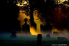 Goethe's Theory of Color (TooLoose-LeTrek) Tags: morning sunlight mist cemetery grave fog dawn haze cross headstone ethereal gravestone mystical atmospheric sunbeams metaphysical hs30