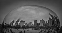 Cloud Gate (explore) (Dan Fleury Photos) Tags: city blackandwhite sculpture white chicago black reflection skyline egg orb bean explore cloudgate bnw