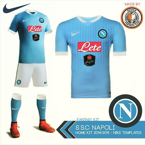 S.S.C Napoli Home Kit - Fantasy kit made with Nike 2014-2015 templates by  Design 4925f1043462a