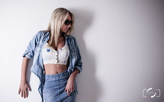 Jenna (Simon Rich Photography) Tags: lighting portrait sunglasses wall canon pose studio model pretty shadows blonde denim marmots simonrich simonrichphotography