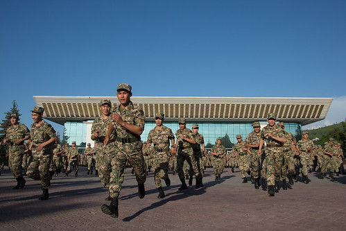 Soldiers in front of Palace of the Republic, Almaty