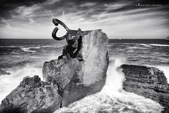 El peine del viento 3 (rokobilbo) Tags: windcomb sculpture sea sky donostia rocks eduardochillida bahadelaconcha strength whiteandblack