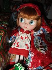 Peyton helped wrap presents