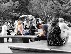 """Oh you will never know The one who loves you so Well you don't know me"" - Ray Charles (Lidiya Nela) Tags: greenwichvillage streetphotography canon people candid romance love city urban manhattan park nyc newyorkcity newyork washingtonsquarepark partialcolor selectivecolor"