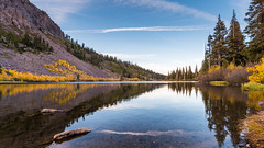 Fall Colors in Eastern Sierra - Twin Lakes (Jaideep Mann) Tags: fall colors foliage eastern sierra nevada mountains yellow aspen water reflection twin lakes mammoth california sky clouds outdoor