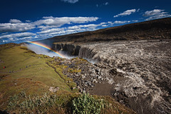 Dettifoss (Mark Liddell) Tags: dettifoss vatnajkullnationalpark vatnajkull national park vatnajokull waterfall falls water double rainbow doublerainbow blue sky clouds cliff valley nature landscape travel europe iceland island jkuls  fjllum river outdoor mountain crag mountainside hill sunny day heights paths people tourists