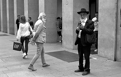 Beards (bingley0522) Tags: bessar2a leicasummicron50mmf20iii yellowfilter tmax400 hc110h epsonv500scanner milan milano beards hehe accosted me after i took this picture
