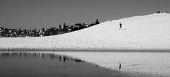 The runner on the dune (LSydney) Tags: sand dune runner curlcurl bw blackandwhite blackwhite monochrome reflection water
