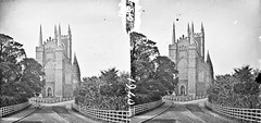 Grotesque and Ghastly Gothic or Soaring Spiky Spires? (National Library of Ireland on The Commons) Tags: thestereopairsphotographcollection lawrencecollection stereographicnegatives jamessimonton frederickhollandmares johnfortunelawrence williammervynlawrence nationallibraryofireland church yjunction railings fence spires abutments towers windows gothic he here locationidentified