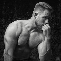 P8 - 02 black and white (WF portraits) Tags: cze man male model portrait blackandwhite black white muscles fitness gym nude chest hairy beard shaven blonde