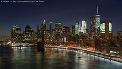 Lower Manhattan (DSC02325) (Michael.Lee.Pics.NYC) Tags: newyork lowermanhattan brooklynbridge eastriver onewtc worldtradecenter 1newyorkplaza manhattanbridge night longexposure fdrdrive lighttrail traffictrail twilight bluehour sony a7rm2 voigtlandernoktonclassic35mmscf14