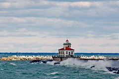 Lighthouse (Created by M) Tags: wind lighthouse water clouds
