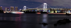 Rainbow Bridge by night (Astarotte73) Tags: tokyo giappone japan bynight notturno rainbowbridge sagamibay odaiba lucinotturne nightlights riflessi reflexions lungaesposizione longexposure panoramica panorama