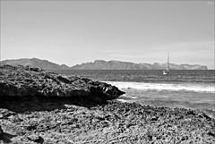 Mallorca - Puerto de Alcudia (Selene's Photography) Tags: alcudia mallorca isla island baleares islasbaleares travel viajar verano summer blancoynegro blackandwhite ship barco mar sea rocks piedras stones