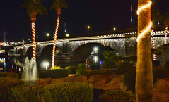 London Bridge lights, Lake Havasu City Arizona (Gail K E) Tags: lakehavasu londonbridge arizona usa architecture bridge scenic iconic historical reflection boating nightreflections palmtrees romantic