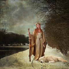 Le retour de la Dame de l'hiver (florence.V) Tags: france hautsdefrance nord 59 labasse canal canaldaire chemindehalage hiver neige damedelhiver photoshop texture montage petitdelire ferie musicphoto