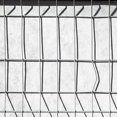 bending the fence (zeh.hah.es.) Tags: zaun bauzaun fence construction constructionsite baustelle grau gray grey schatten shadow grid gitter schwarz black rhythmus rhythm kreis5 zurich zrich schweiz switzerland