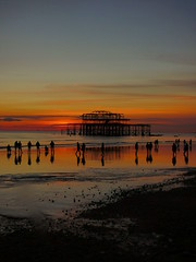 West Pier (Darren-Holes) Tags: brighton sunset beach sussex dusk colour sea englishchannel people silhouette light dark shadow sun westpier brightonpier palacepier pier groyne