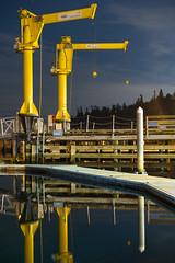 Shilshole (bombeeney) Tags: seattle shilsholebay goldengardens ballard washington pacificnorthwest pnw crane dock pugetsound night dark