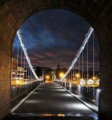 Bridge at Night (Ian Robin Jackson) Tags: bridge aberdeen night scotland bridgesofscotland lights sky wellingtonsuspensionbridge dark 2016 riverdee