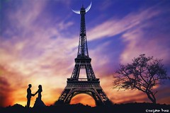 Dear Paris,  Just wait for me. (gusdiaz) Tags: eiffel paris france photoshop photomanipulaton couple romantic love sunset sundown beautiful hermoso paraja atardecer sol otoo relajante nubes clouds cielo sky digital art