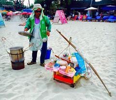 Selling food on Samui beach (sawerdanielle) Tags: thailand food sand beach kohsamui