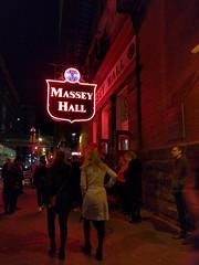 massey hall at night (Ian Muttoo) Tags: img20161112193918edit gimp toronto ontario canada motionblur masseyhall neon night street sidewalk