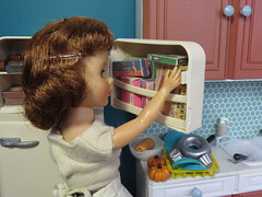 5. Checking on the beans (Foxy Belle) Tags: doll vintage kitchen diorama barbie playscale 16 holiday dollhouse room scene food refrigerator freezer full