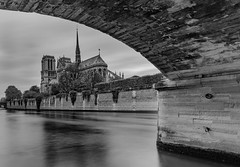 Cathdrale Notre Dame de Paris - Pont de l'Archevch (Aleem Yousaf) Tags: ilobsterit monochrome blackandwhite cathdrale notre dame paris pont larchevch france historical gothic roman catholic architecture overcast sky clouds long exposure lee filter little stopper neutral density nikon d800 ledelacit fourth arrondissement bridge seine river