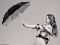 The lady of the umbrella (David Martn Lpez) Tags: portrait retrato estudio studio people gente blackandwhite blancoynegro umbrella paraguas dianaconde lighting iluminacion davidmartinlopez